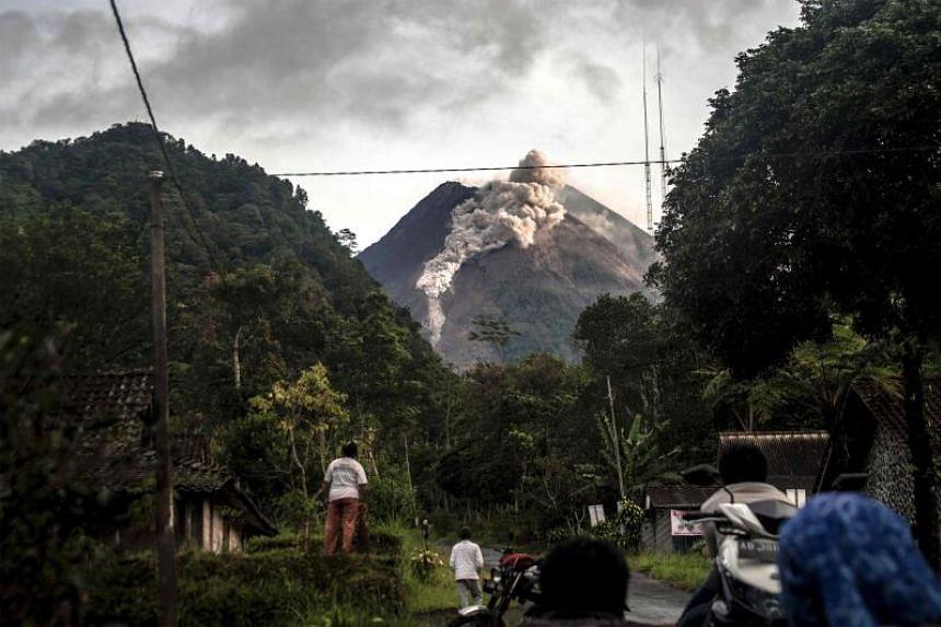 Mount Merapi spewing rocks and ash in Yogyakarta on Jan 27, 2021.