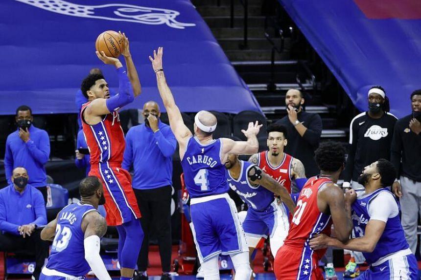 Philadelphia 76ers Tobias Harris shoots during the NBA match at the Wells Fargo Center, on Jan 27, 2021.