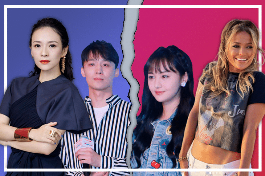 In this episode #PopVultures, we discuss the surrogacy saga of Chinese actress Zheng Shuang and her ex-partner Zhang Heng (middle), as well as showbiz ageism against women like Zhang Ziyi (far left) and Jennifer Lopez (far right).