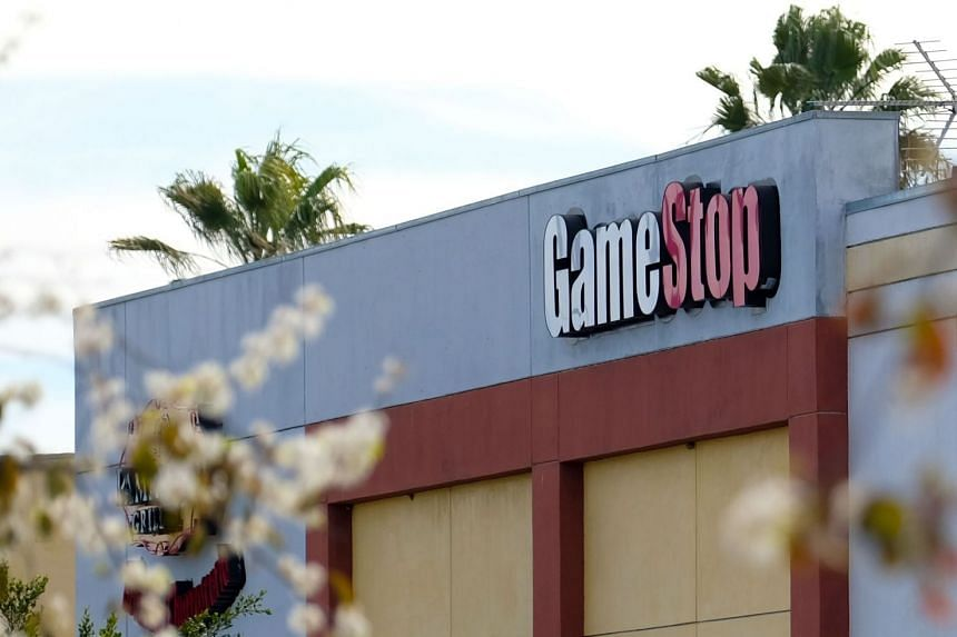 GameStop's logo sign is seen above a store in Culver City, California on January 28, 2021.
