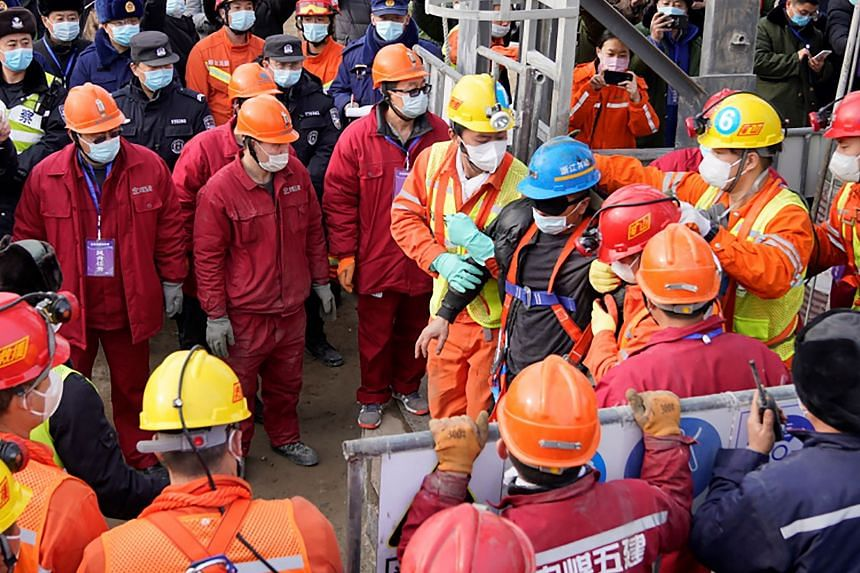 Chinese miners saved from hundreds of metres underground after being trapped for two weeks in a gold mine explosion in Qixia, China, on Jan 24, 2021.