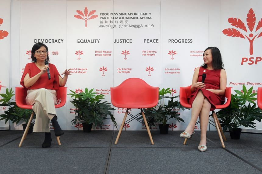 Ms Hazel Poa (left) and Ms Wendy Low at PSP's media briefing on the party's women's wing on Jan 30, 2021.