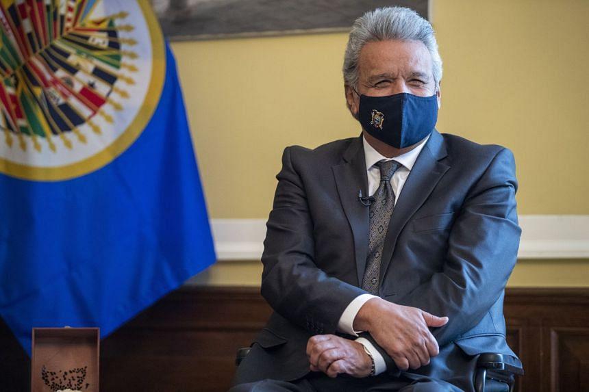 President Moreno during a meeting at the Embassy of Ecuador in Washington, DC, on Jan 27, 2021.