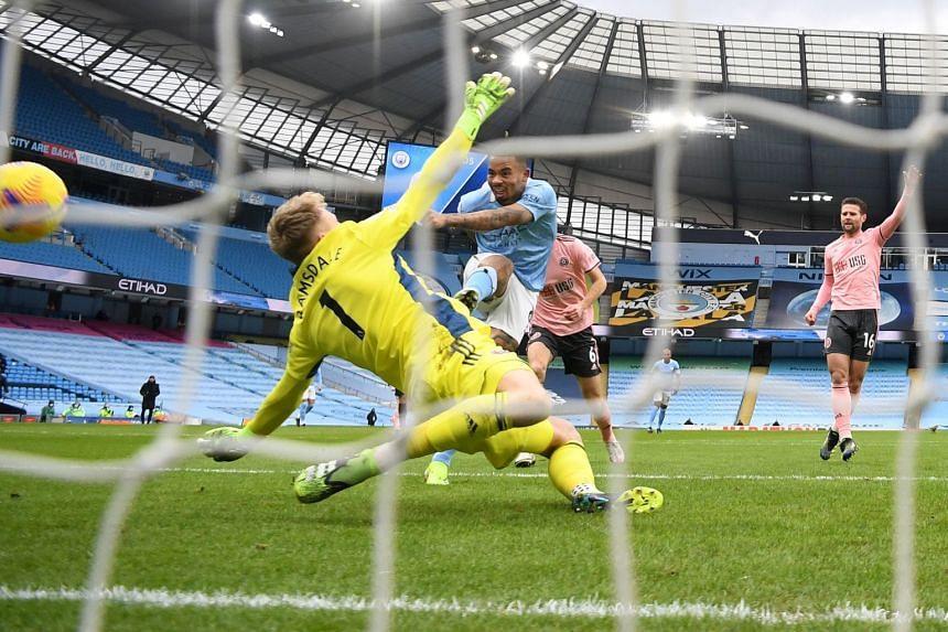 Gabriel Jesus scores for Manchester City against Sheffield United.