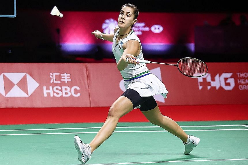Carolina Marin on the way to booking a place in her third final in a row with her World Tour Finals semi-final win yesterday.
