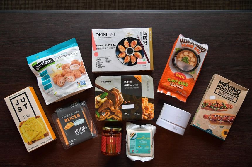 Items tested include sliced beef from South Korean food manufacturing company Zikooin; sambal chilli from Penang's Pinxin Vegan Cuisine; and camembert from Singapore-based start-up 4MY.