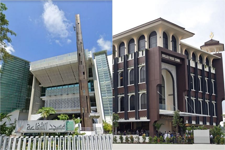 The youth had chosen Assyafaah Mosque in Sembawang (left) and Yusof Ishak Mosque in Woodlands as his targets. PHOTOS: SCREENGRAB FROM GOOGLE MAPS, ST FILE