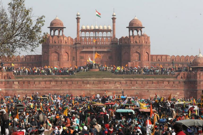 Indian farmers gathering in the Red Fort amid the ongoing protests against new agriculture laws, in New Delhi on Jan 26, 2021.
