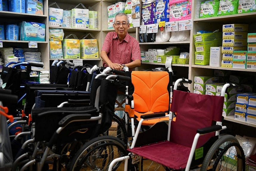 Mr Ronnie Loh, owner of Rehab King which sells eldercare products such as wheelchairs and diapers in Bukit Merah, says he finds meaning in helping his customers, most of whom are seniors or caregivers.