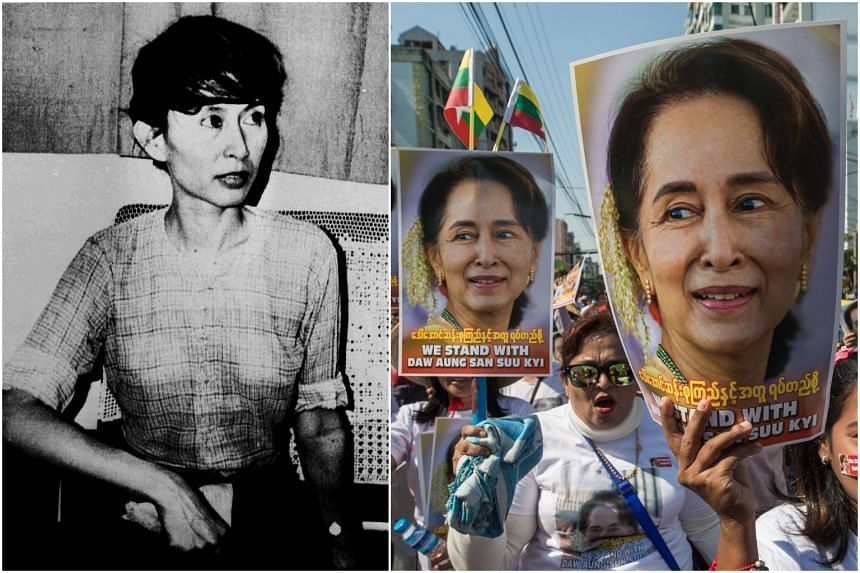 Ms Aung San Suu Kyi returned to Myanmar in 1988 (left) and has since enjoyed widespread support.