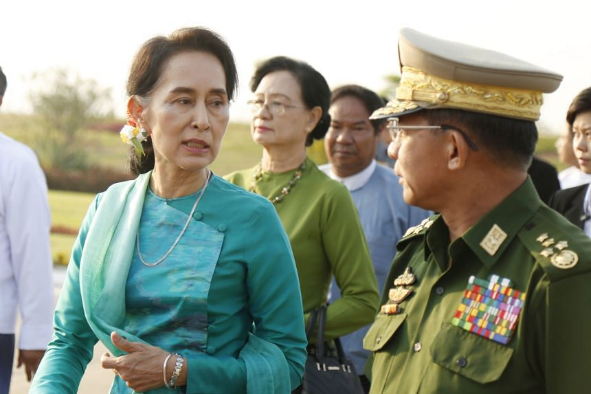 Ms Aung San Suu Kyi with Senior General Min Aung Hlaing in Naypyidaw in May 2016.