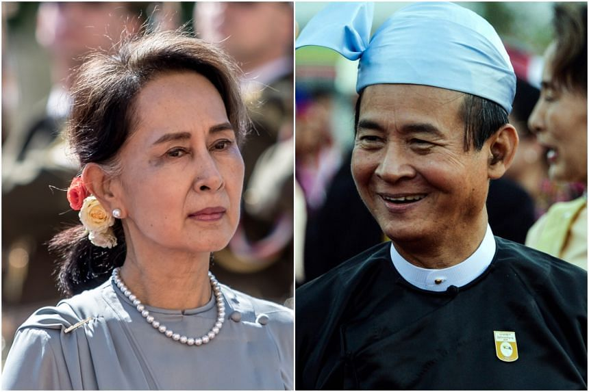 Myanmar's State Counsellor Aung San Suu Kyi and President Win Myint were detained in a raid on the morning of Feb 1, 2021.