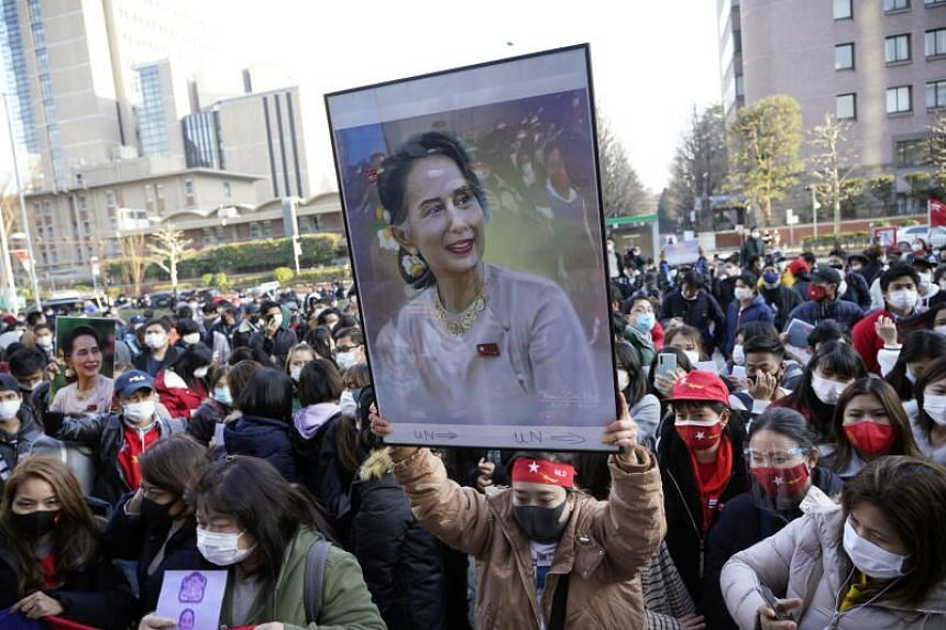 The demonstrators called on the United Nations to further condemn the Myanmar military's actions.