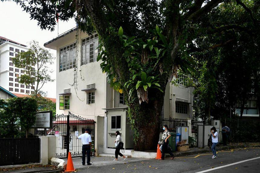 People entering the Myanmar Embassy in Singapore on Feb 1, 2021.