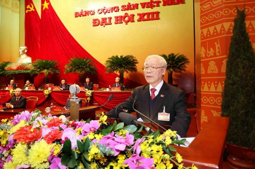 Vietnam's Communist Party General Secretary Nguyen Phu Trong speaks at the 13th National Congress on Feb 1, 2021.