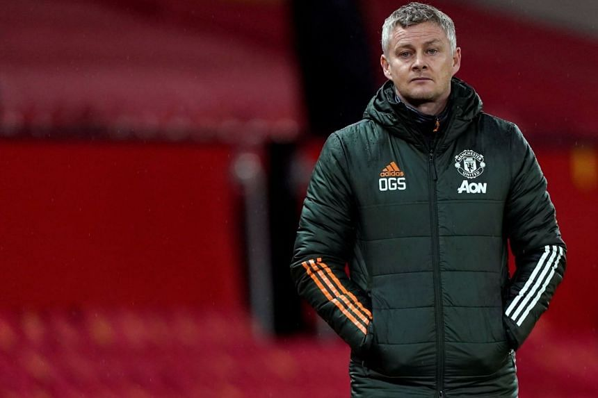 Manchester United manager Ole Gunnar Solskjaer during the team's match with Sheffield United on Jan 27, 2021.