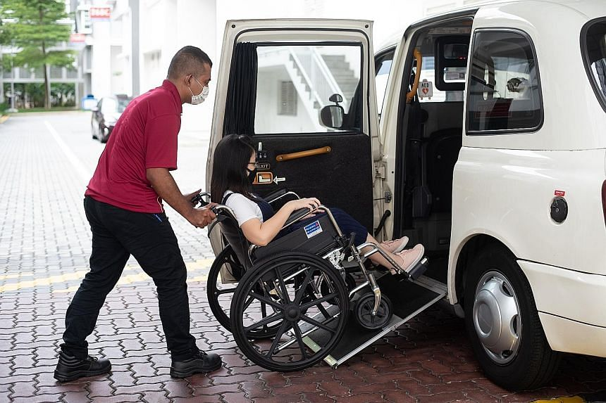 Grab's GrabAssist Plus, in which about 10 wheelchair-accessible vehicles will be made available for hire, will be trialled from next Monday. PHOTO: GRAB SINGAPORE