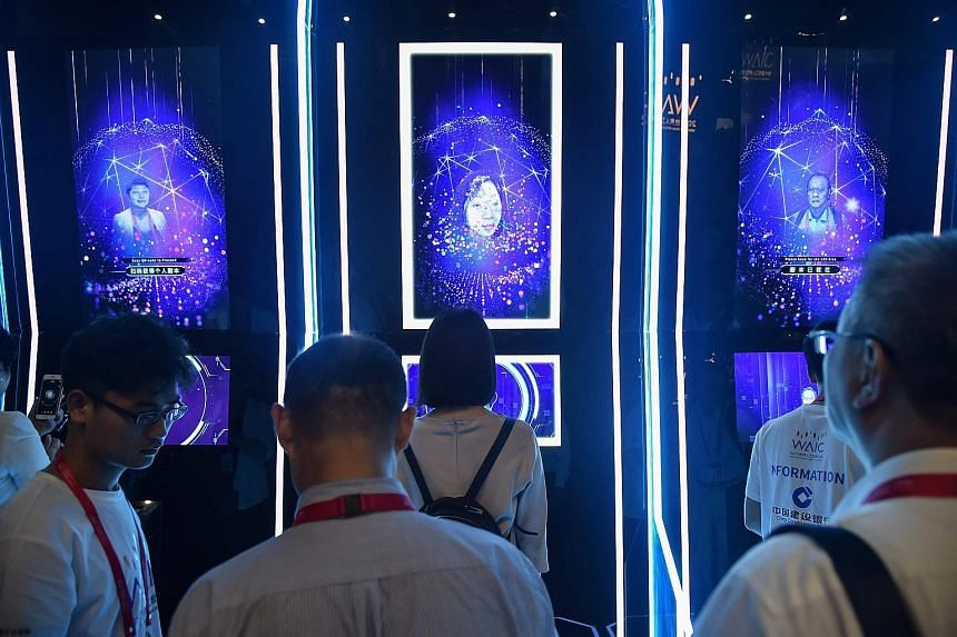 People having their faces scanned at the World Artificial Intelligence Conference in Shanghai in 2019. As artificial intelligence (AI) is used to amplify human capabilities, the protection of humans' interests, including our well-being and safety, sh