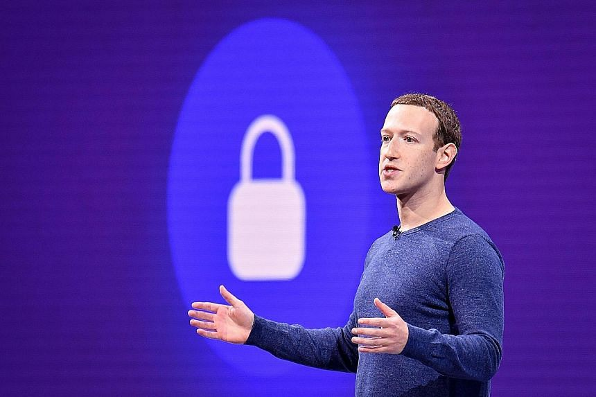 Facebook, whose chief executive is Mr Mark Zuckerberg (above), is planning its own counter-move to Apple's prompt (left), which aims to seek users' consent before their data can be tracked by app developers. PHOTOS: AGENCE FRANCE-PRESSE, REUTERS