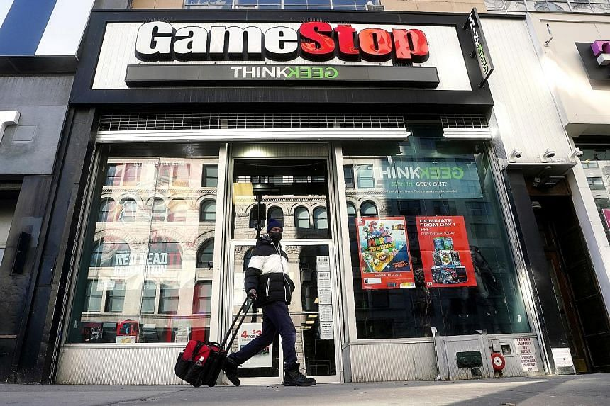 A GameStop store in the Manhattan borough of New York City. Stocks of firms such as video game retailer GameStop have been in the spotlight in the United States |for their volatility.