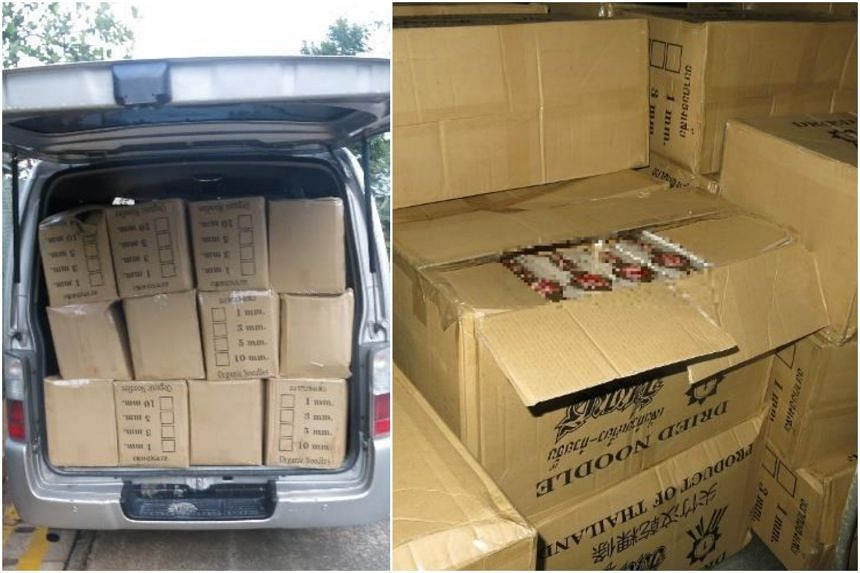 """Officers inspected the van and found brown carton boxes labelled """"dried noodles"""" with duty-unpaid cigarettes inside."""