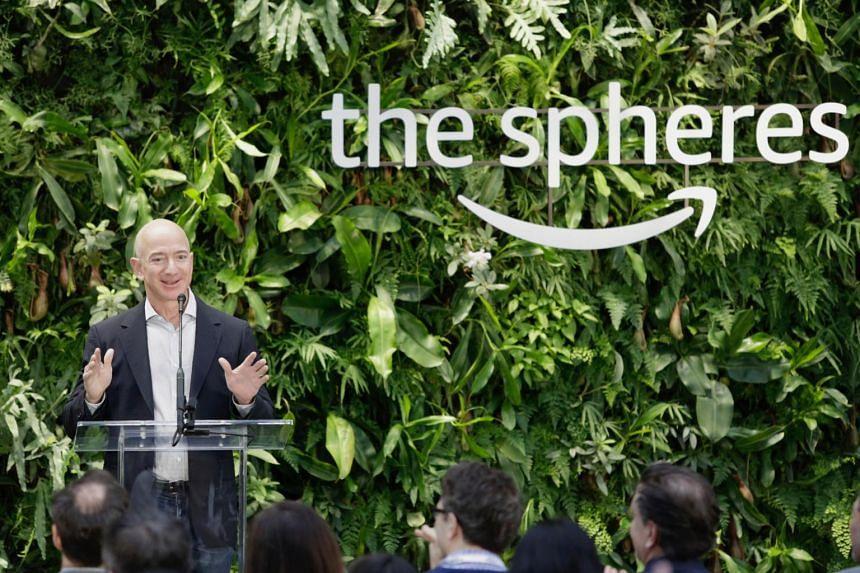 Amazon CEO Jeff Bezos speaks at the grand opening of the Amazon Spheres, in Seattle, Washington, on Jan 29, 2018.