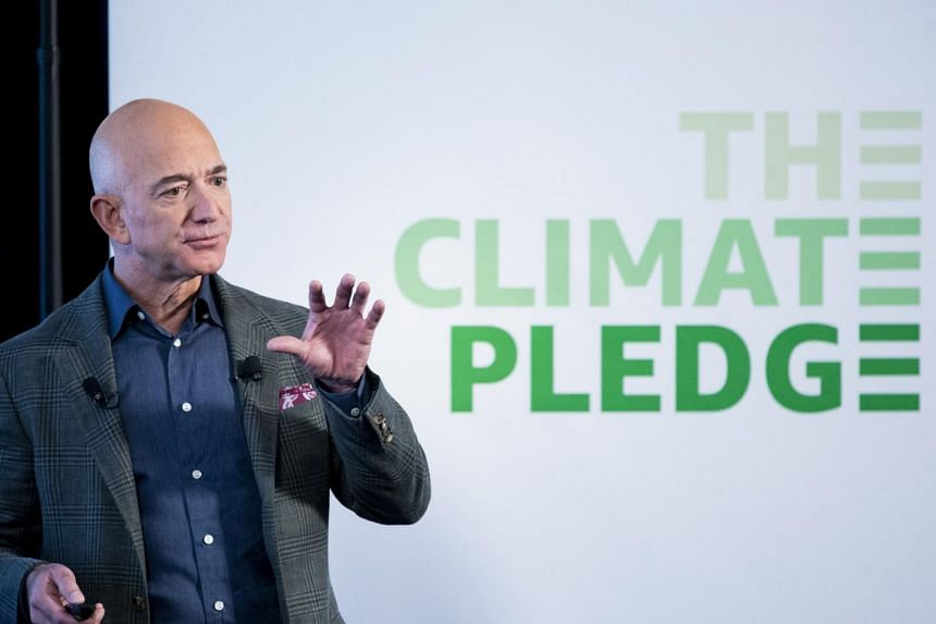 Amazon CEO Jeff Bezos participates in the unveiling of an Amazon environmental initiative entitled 'The Climate Pledge', on Sept 19, 2019.