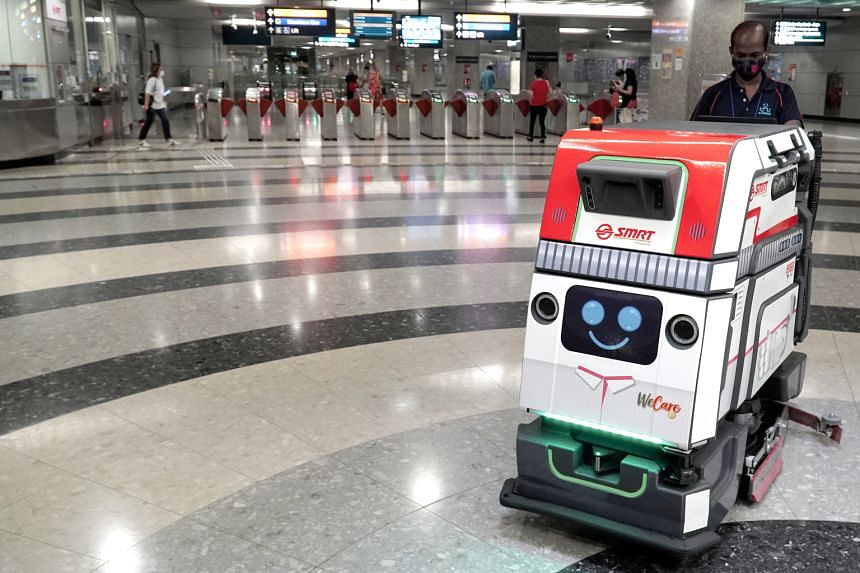 A cleaning robot that SMRT has deployed to help clean MRT stations along the Circle Line from Feb 1, 2021.