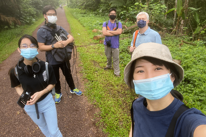 Ornithologist David Tan (middle) takes in the sights and sounds of Clementi Forest, along with Green Pulse hosts Audrey Tan and David Fogarty (right) and podcast producers Adam Azlee and Penelope Lee (left).