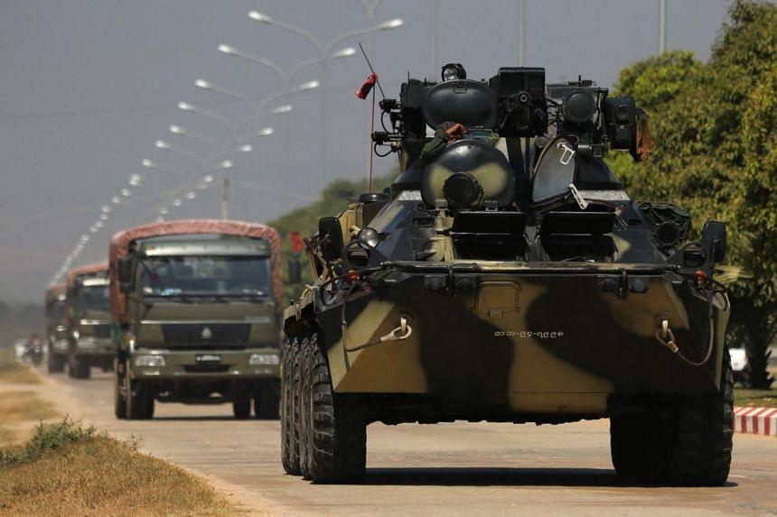 Military vehicles patrolling a road in Naypyitaw, Myanmar, on Feb 3, 2021.