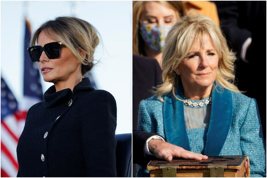 Mrs Melania Trump (left) rarely spoke at length in public and even less so in unscripted situations, unlike Mrs Jill Biden, an accomplished public speaker.