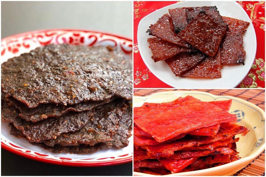 (Clockwise from left) Mala beef bak kwa, Pork Bak Kwa, Chicken Bak Kwa.