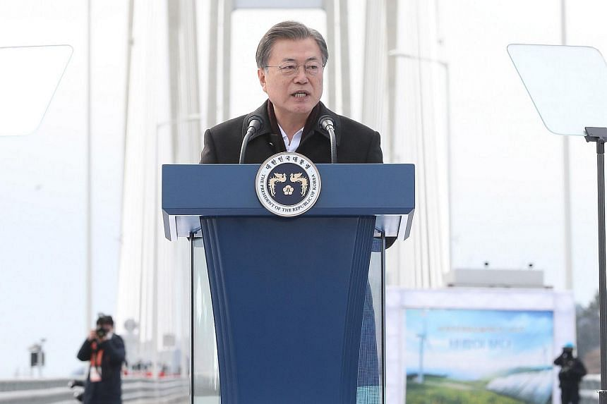 South Korean President Moon Jae-in speaks during a ceremony on a bridge in Sinan, South Korea, on Feb 5, 2021.
