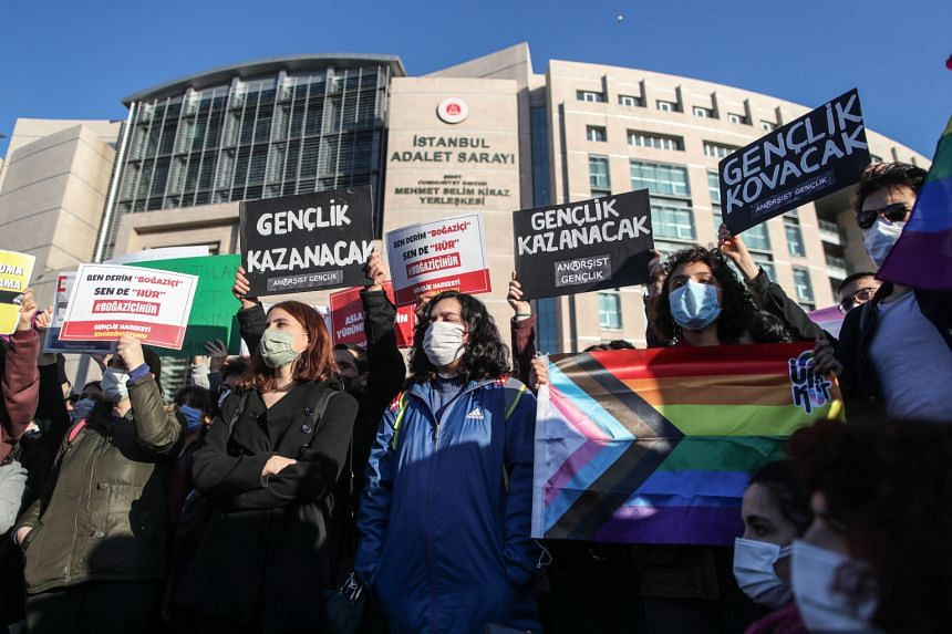 Students of Bogazici University hold placards and shout slogans in front of the Istanbul Courthouse, on Feb 3, 2021.