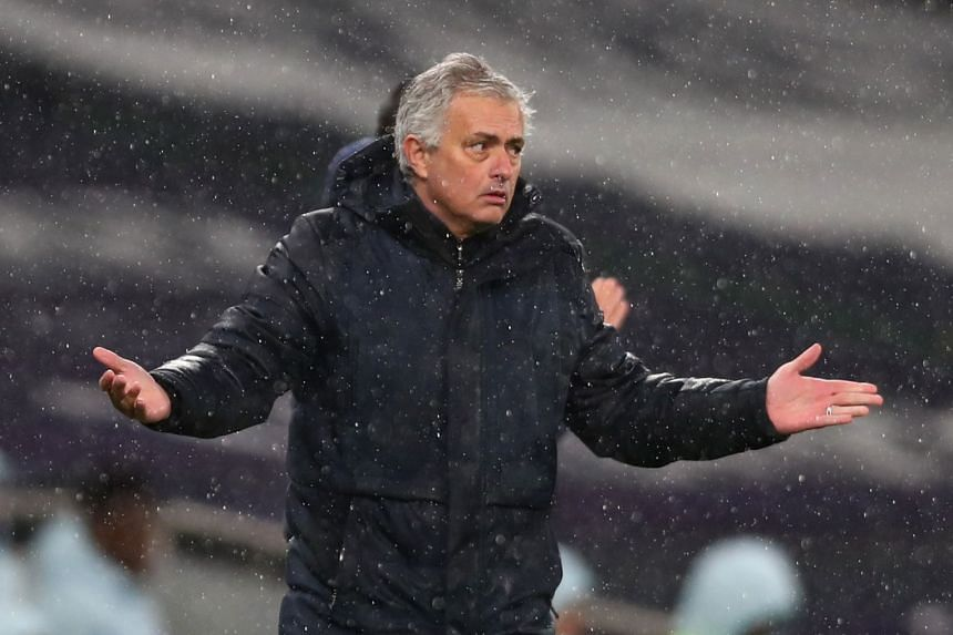 Tottenham Hotspur manager Jose Mourinho during the match against Chelsea on Feb 4, 2021.