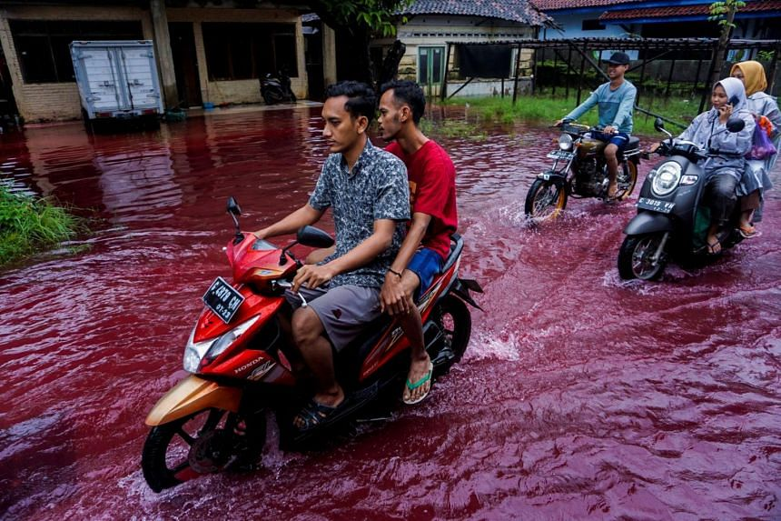 People ride motorbikes through a flooded road with red water in Pekalongan, on Feb 6, 2021.