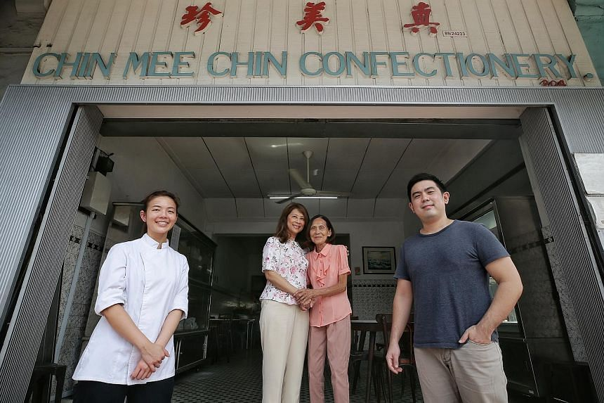 (From far left) Ebb & Flow Group's executive pastry chef Maxine Ngooi; Chin Mee Chin Confectionery's Sharon Tan and main managing partner Leoang Kwang Ling; and Ebb & Flow Group chief executive Lim Kian Chun.
