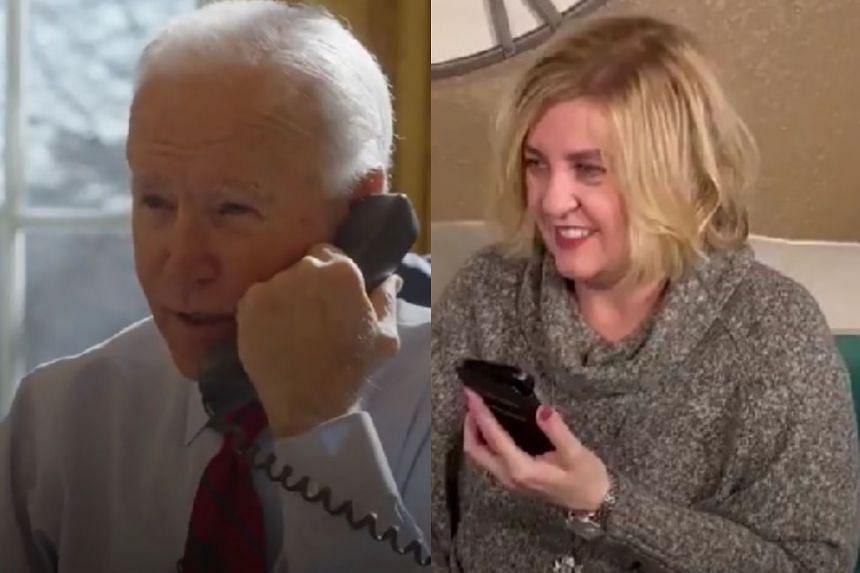 Joe Biden (left) talks from the White House to Michele in Roseville, California.