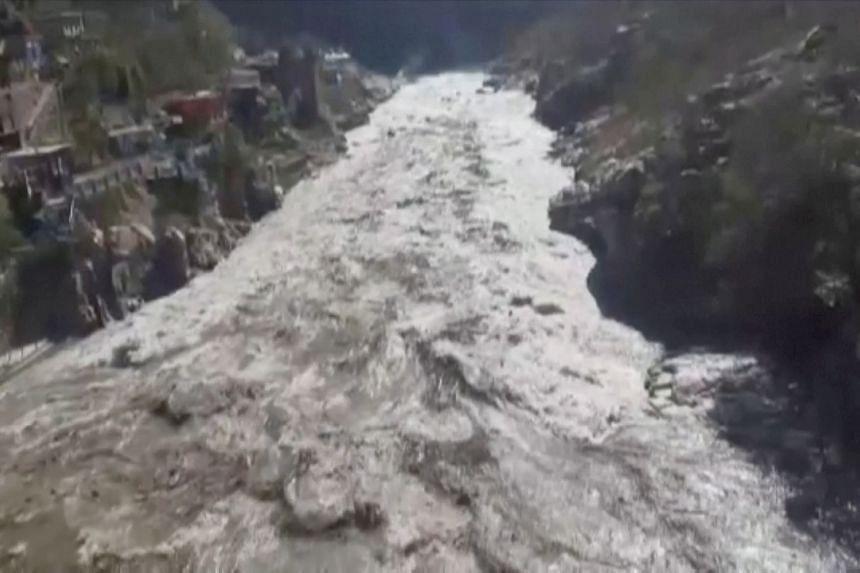 Flooding in Chamoli after a glacier broke on Feb 7, 2021.