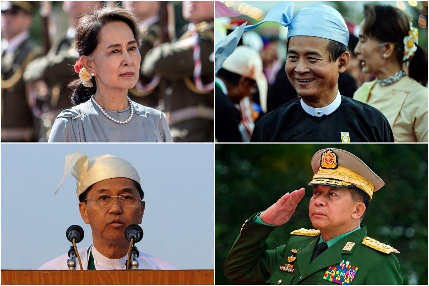 (Clockwise from top left) Aung San Suu Kyi, Win Myint,  Min Aung Hlaing, Myint Swe.