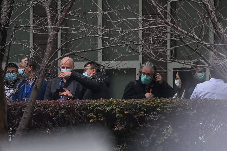 Members of the World Health Organisation team arrive at the Hubei Centre for animal disease control and prevention in Wuhan, on Feb 2, 2021.
