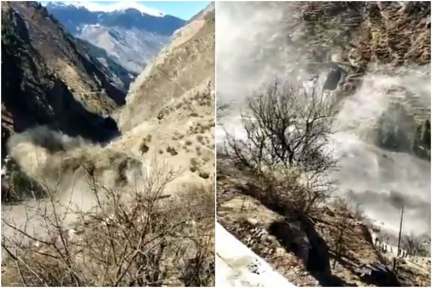 Footage showed water gushing towards a dam in the state of Uttarakhand, washing away parts of it and whatever else was in its path.