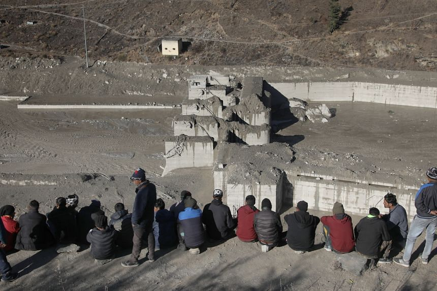 The damaged Dhauliganga hydro power project at Reni village in India's Uttrakhand state on Feb 8, 2021.