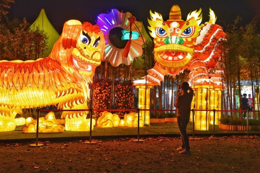 Lion dance lanterns displayed at the River Hongbao. An exhibition on the history of lion dance in Singapore is part of this year's features.