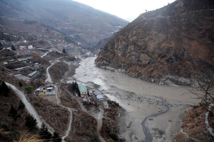 A general view of an area near the Dhauliganga hydro power project at Reni village in Chamoli district, Uttrakhand, India, on Feb 8, 2021.
