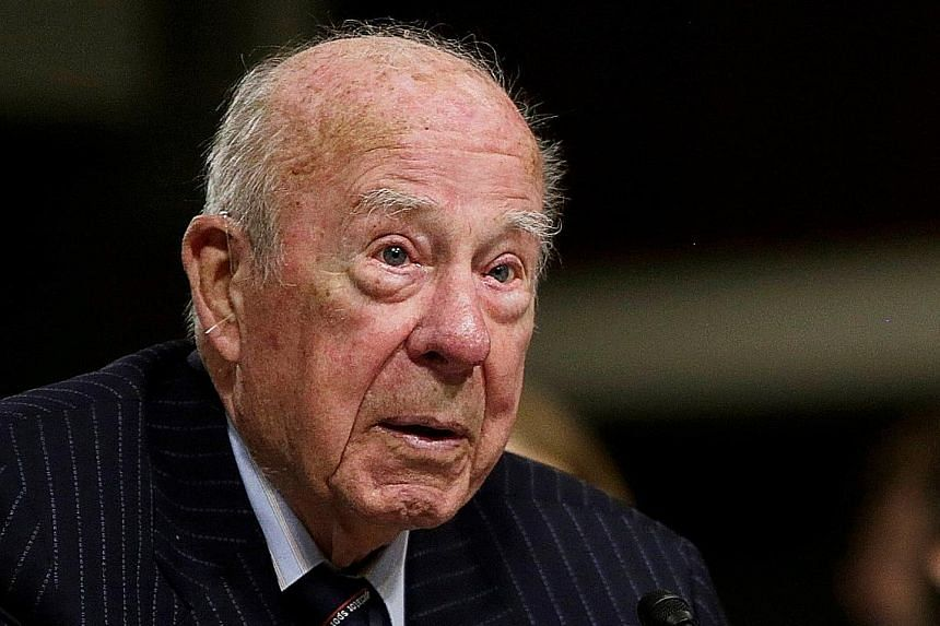 Mr George Shultz - seen at left in a 2015 photo and above with then Prime Minister Lee Kuan Yew in the US in 1985 - helped forge a new era in American-Soviet relations and bring on the end of the Cold War. PHOTOS: ST FILE, REUTERS
