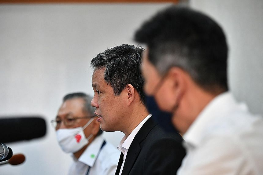 Workers in the manufacturing control room at Sanwa Plastic's factory in Woodlands yesterday. On a visit to the factory yesterday, Minister for Trade and Industry Chan Chun Sing described the various government initiatives and schemes available for SM