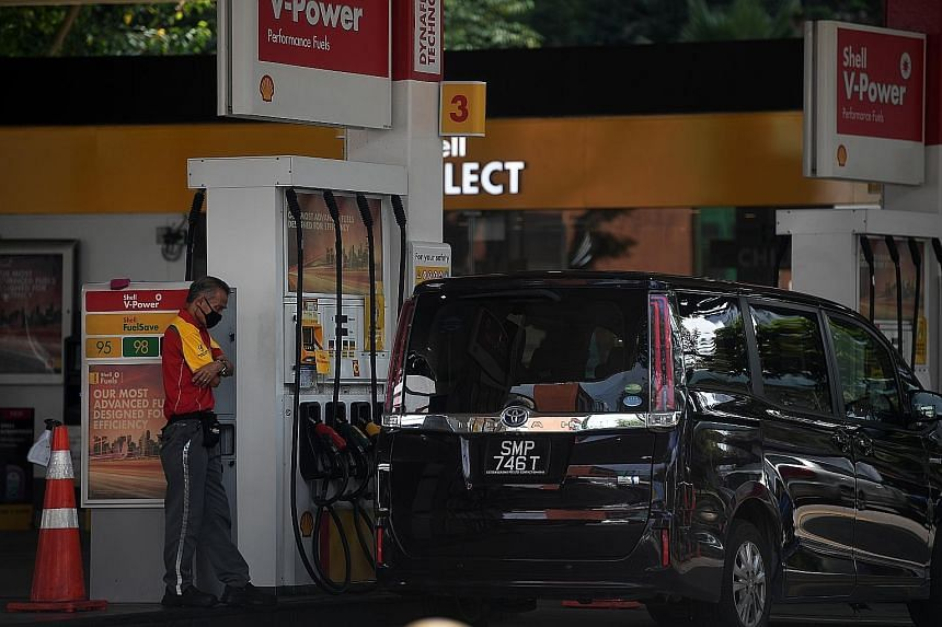 Petrol and diesel prices have gone back to their levels seen just before Singapore's circuit breaker to control the spread of Covid-19 kicked in last year. Pump prices fell to their lowest levels in several years during the two-month period. ST PHOTO