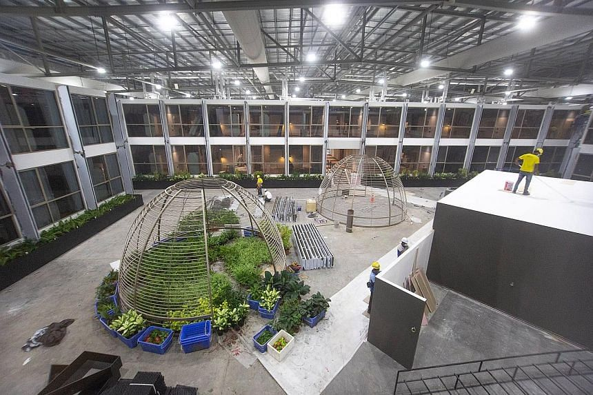 Ongoing construction work at Connect@Changi's courtyard. The facility at Singapore Expo and Max Atria is almost complete and is expected to receive its first guests under the Connect@Singapore segregated travel lane from Feb 21.