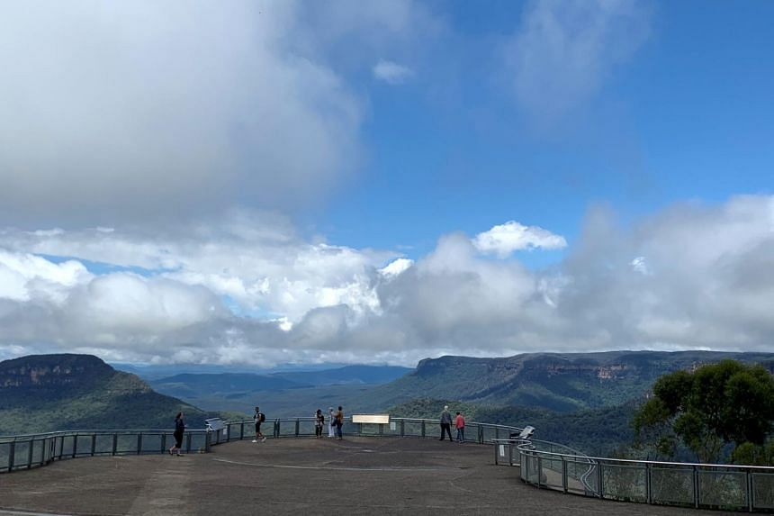 Echo Point lookout in the Blue Mountains, New South Wales, Australia on Feb 2, 2021.